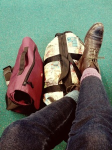 Flying home, and I was so tired I couldn't match my socks. Heh.