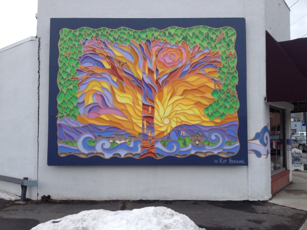 A mural in the hip strip.