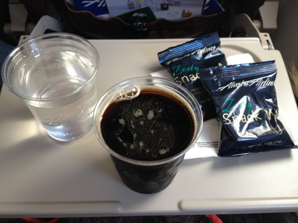 Beer and water on Alaska Air