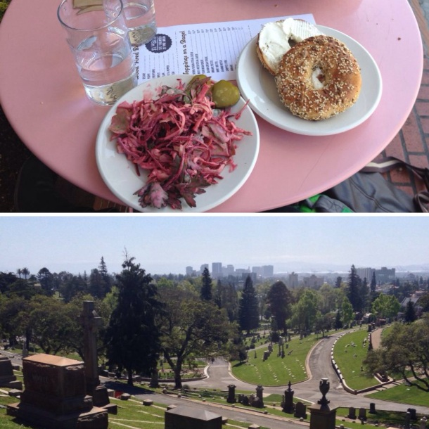 Beauty's Bagels and Mountain View Cemetery, Oakland, CA