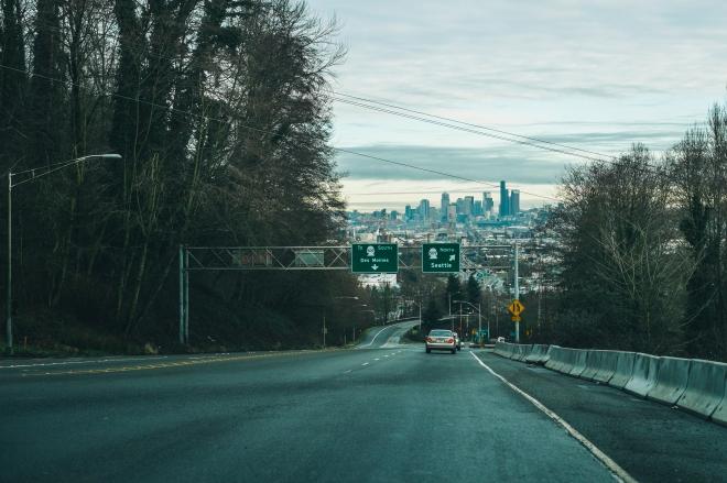 Driving through Seattle