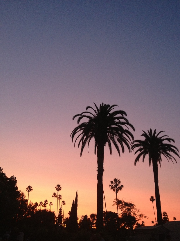 A sunset in the Hollywood Forever Cemetery