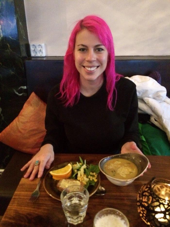 Kryddlegin Hjortu, soup and salad in Reykjavik