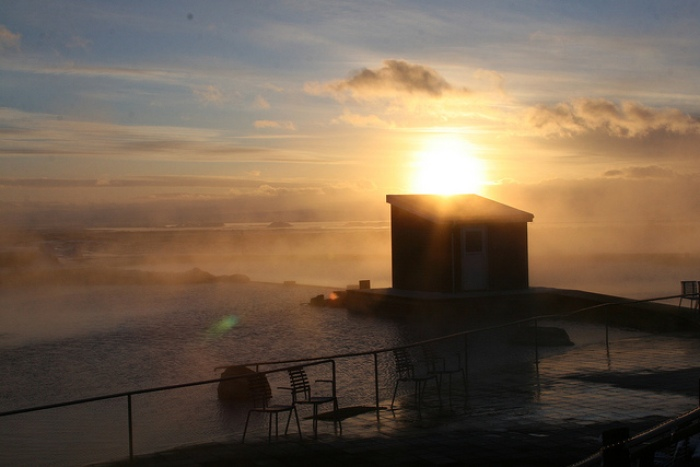 Myvatn Baths sunset