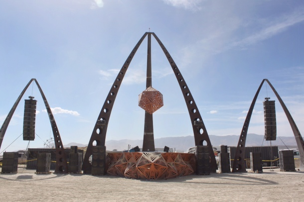 Burning Man sound camp by day