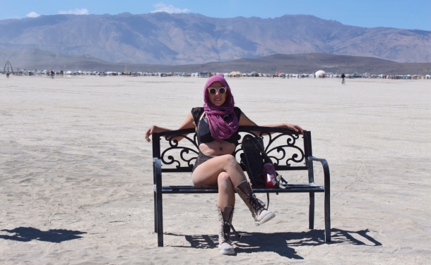 Me on a bench at Burning Man